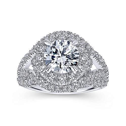 Krishna 18k White Gold Round Halo Engagement Ring angle 5