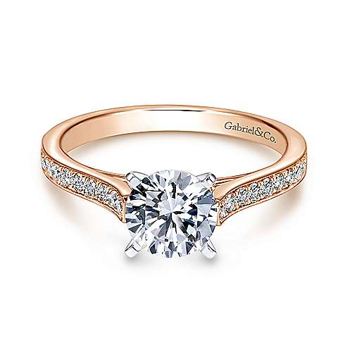 Gabriel - Krista 14k White And Rose Gold Round Straight Engagement Ring