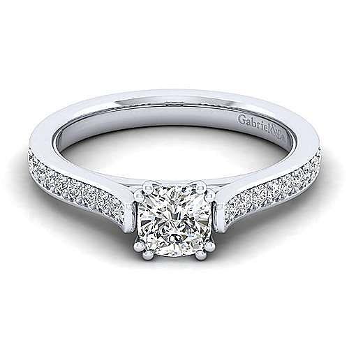 Gabriel - Krista 14k White Gold Cushion Cut Straight Engagement Ring