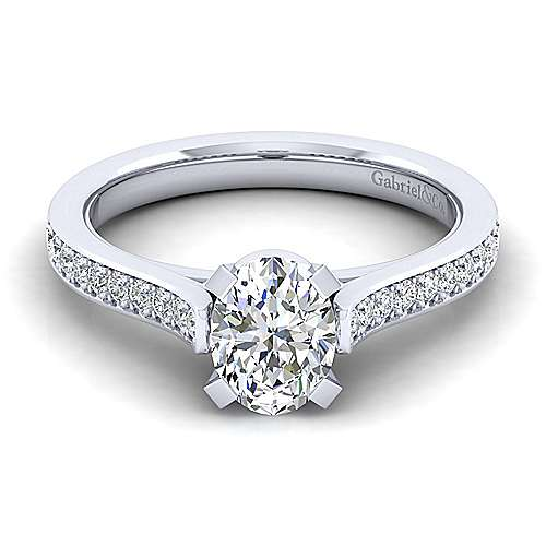 Gabriel - Krista 14k White Gold Oval Straight Engagement Ring