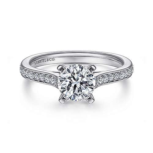 Gabriel - Krista 14k White Gold Round Straight Engagement Ring