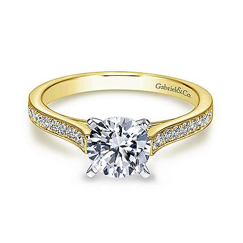 Gabriel - Krista 14k Yellow And White Gold Round Straight Engagement Ring