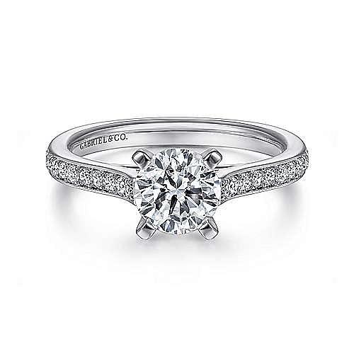 Gabriel - Krista Platinum Round Straight Engagement Ring