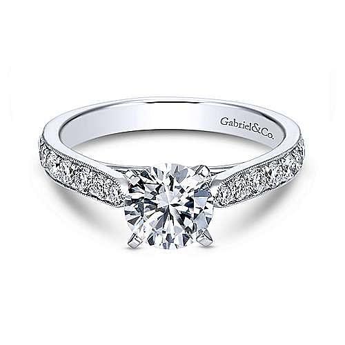 Gabriel - Kristen 14k White Gold Round Straight Engagement Ring