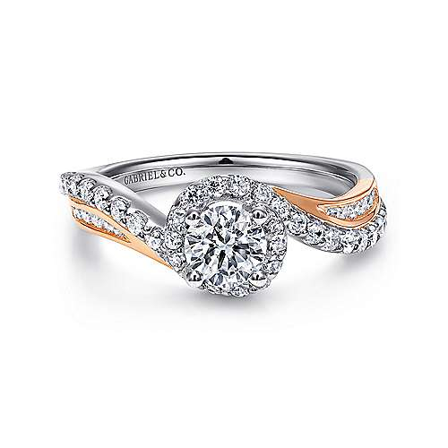 Gabriel - Kyla 14k White And Rose Gold Round Bypass Engagement Ring