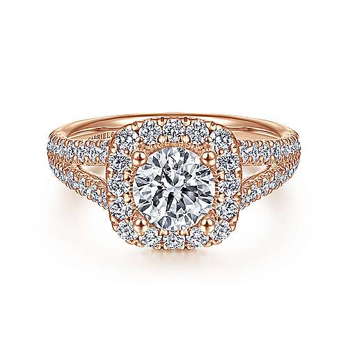 Kylie 14k Rose Gold Round Halo Engagement Ring angle 1