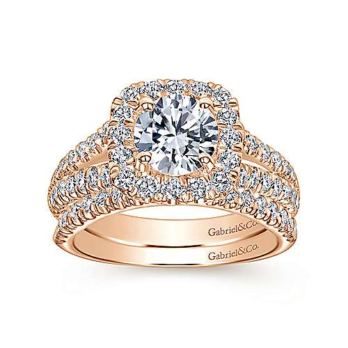 Kylie 14k Rose Gold Round Halo Engagement Ring angle 4
