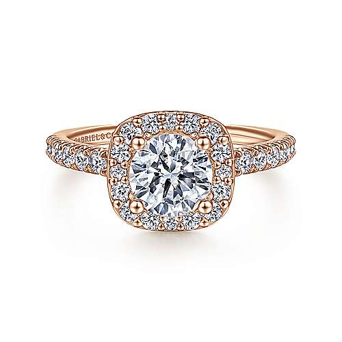 Gabriel - Kylie 14k Rose Gold Round Halo Engagement Ring