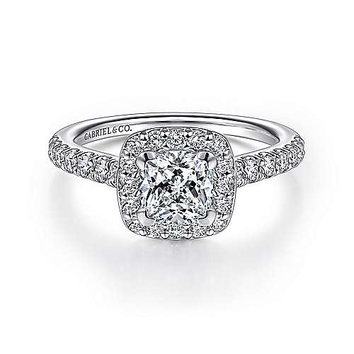 Gabriel - Kylie 14k White Gold Cushion Cut Halo Engagement Ring