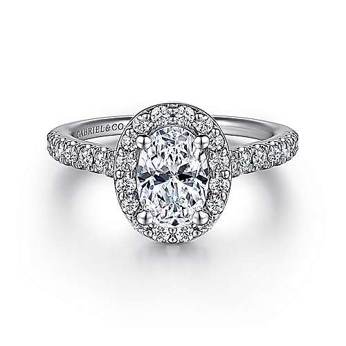 Gabriel - Kylie 14k White Gold Oval Halo Engagement Ring