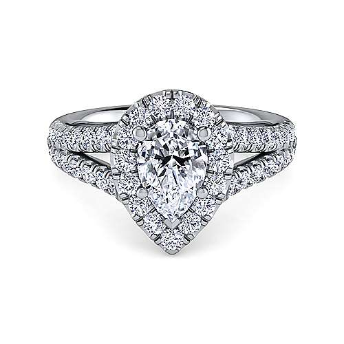 Gabriel - Kylie 14k White Gold Pear Shape Halo Engagement Ring