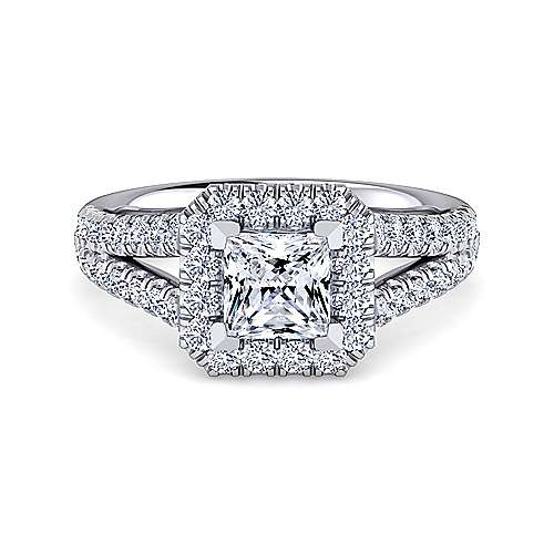 Gabriel - Kylie 14k White Gold Princess Cut Halo Engagement Ring