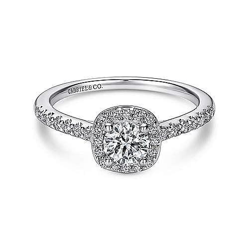 Gabriel - Kylie 14k White Gold Round Halo Engagement Ring
