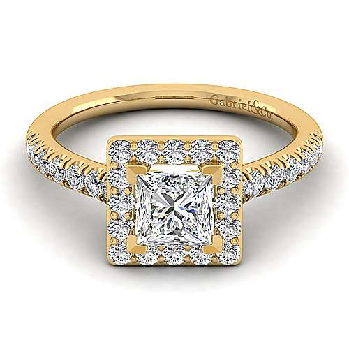Kylie 14k Yellow Gold Princess Cut Halo Engagement Ring angle 1