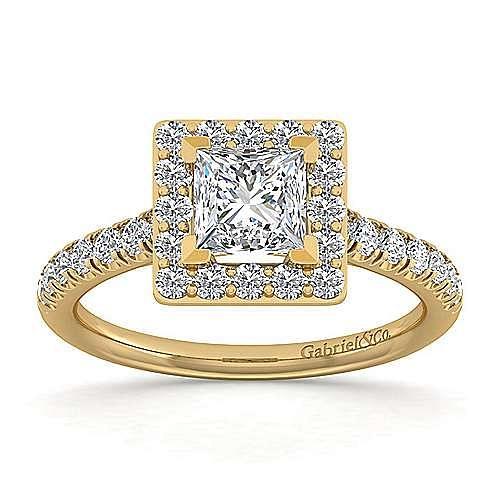 Kylie 14k Yellow Gold Princess Cut Halo Engagement Ring angle 5