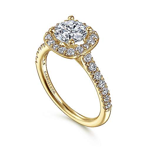 Kylie 14k Yellow Gold Round Halo Engagement Ring angle 3