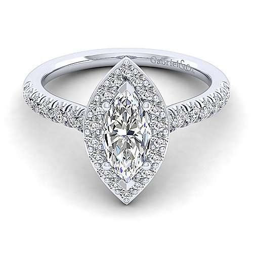 Gabriel - Kylie Platinum Marquise  Halo Engagement Ring