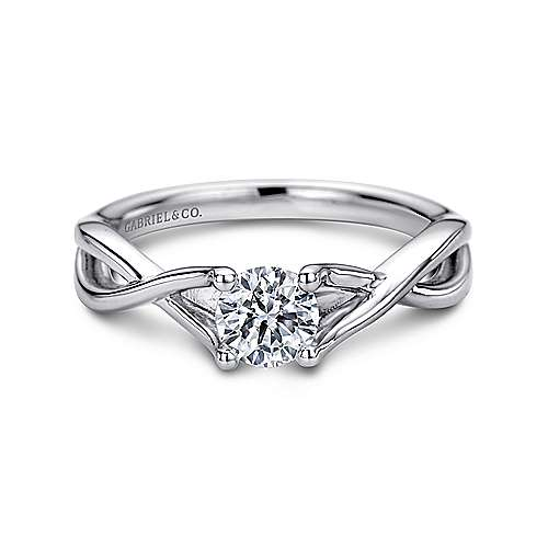Gabriel - Kylo 14k White Gold Round Solitaire Engagement Ring