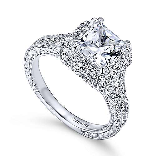 Lace 18k White Gold Princess Cut Double Halo Engagement Ring Angle 3