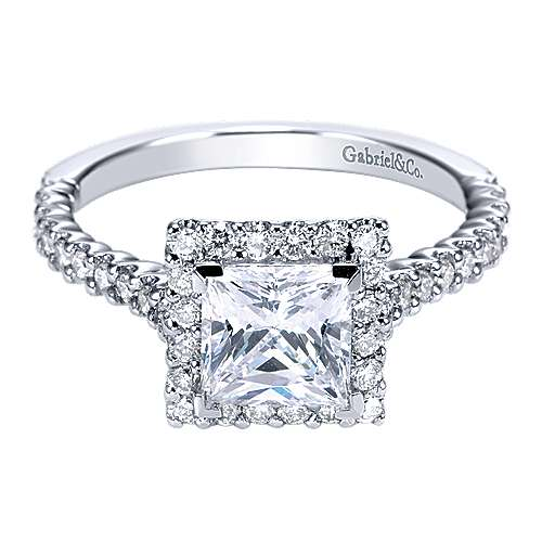 Gabriel - Lachlan 14k White Gold Princess Cut Halo Engagement Ring