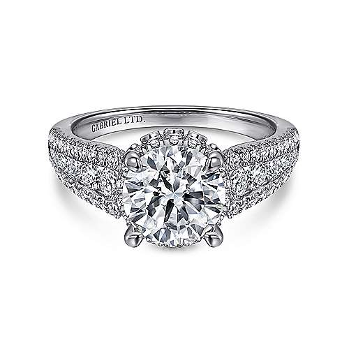 Lafayette 18k White Gold Round Halo Engagement Ring angle 1