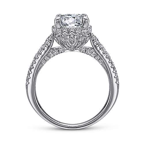 Lafayette 18k White Gold Round Halo Engagement Ring angle 2