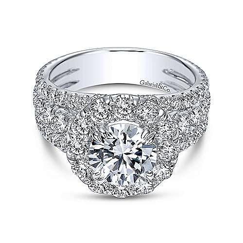 Lainey 18k White Gold Round Halo Engagement Ring angle 1