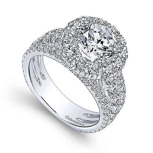 Lainey 18k White Gold Round Halo Engagement Ring angle 3