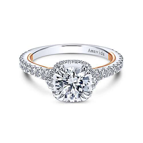 Gabriel - Laksa 18k White And Rose Gold Round Halo Engagement Ring