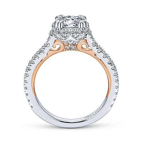 Laksa 18k White And Rose Gold Round Halo Engagement Ring angle 2