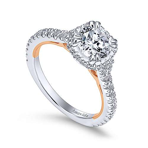 Laksa 18k White And Rose Gold Round Halo Engagement Ring angle 3
