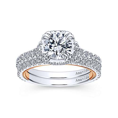 Laksa 18k White And Rose Gold Round Halo Engagement Ring angle 4