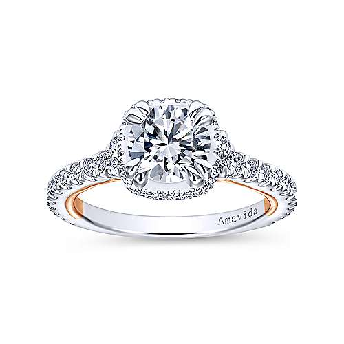 Laksa 18k White And Rose Gold Round Halo Engagement Ring angle 5