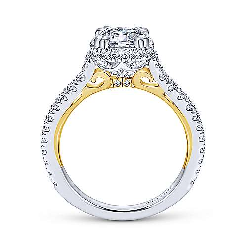 Laksa 18k Yellow And White Gold Round Halo Engagement Ring angle 2