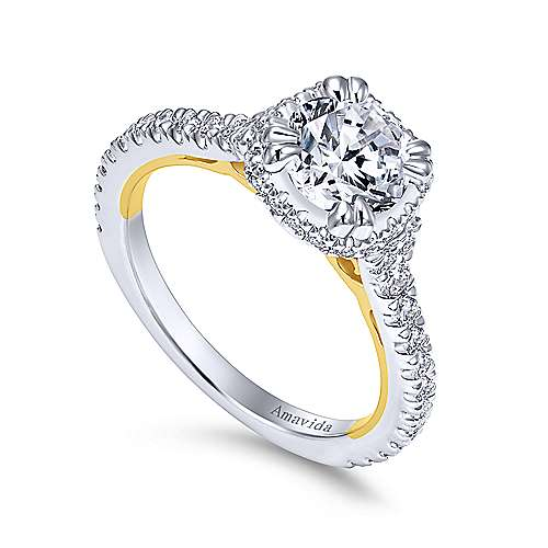 Laksa 18k Yellow And White Gold Round Halo Engagement Ring angle 3