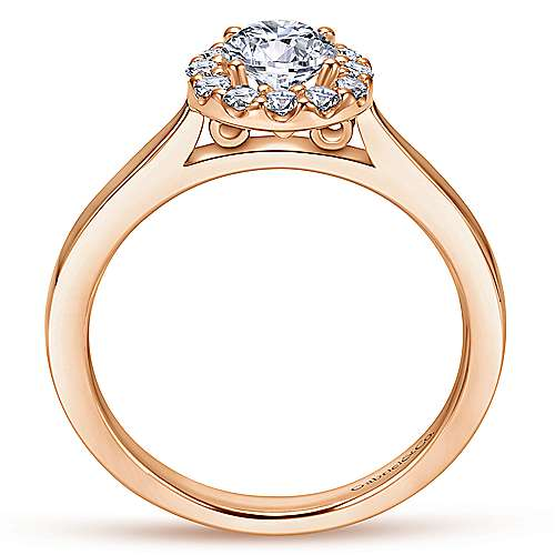 Lana 14k Rose Gold Round Halo Engagement Ring angle 2