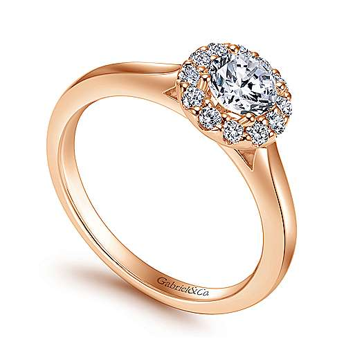 Lana 14k Rose Gold Round Halo Engagement Ring angle 3