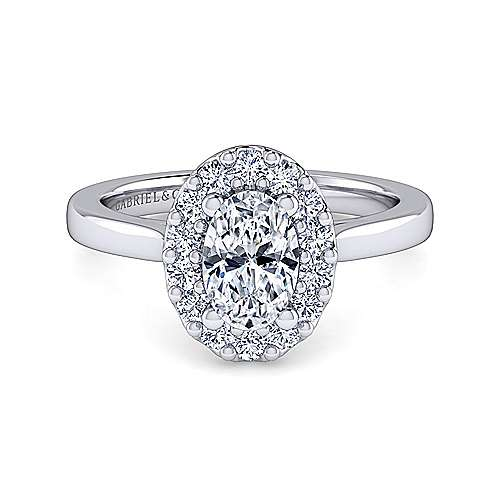 Gabriel - Lana 14k White Gold Oval Halo Engagement Ring