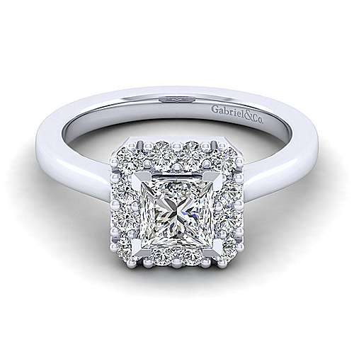Gabriel - Lana 14k White Gold Princess Cut Halo Engagement Ring