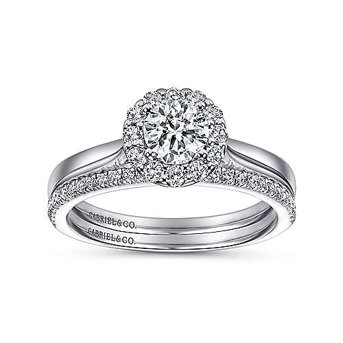 Lana 14k White Gold Round Halo Engagement Ring angle 4
