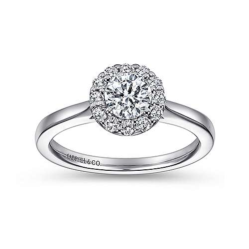 Lana 14k White Gold Round Halo Engagement Ring angle 5