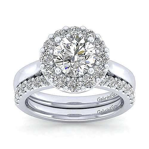 Lana 14k White Gold Round Halo Engagement Ring angle 4