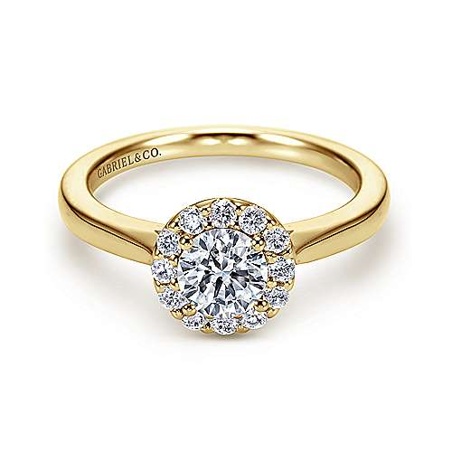 Lana 14k Yellow And White Gold Round Halo Engagement Ring angle 1