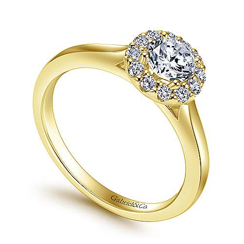Lana 14k Yellow And White Gold Round Halo Engagement Ring angle 3