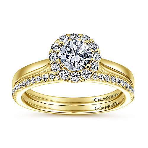 Lana 14k Yellow And White Gold Round Halo Engagement Ring angle 4