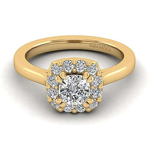 Lana 14k Yellow Gold Cushion Cut Halo Engagement Ring angle 1