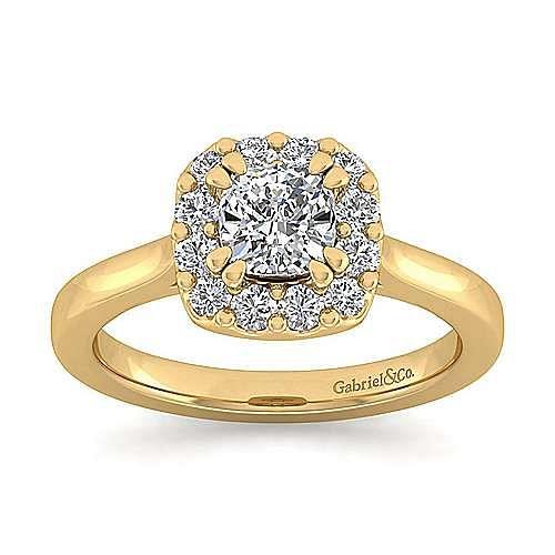 Lana 14k Yellow Gold Cushion Cut Halo Engagement Ring angle 5