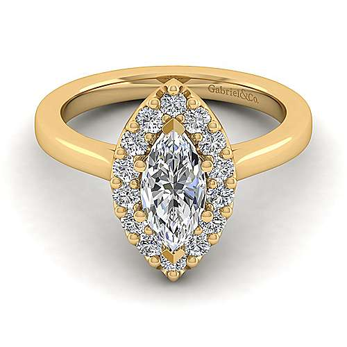 Lana 14k Yellow Gold Marquise  Halo Engagement Ring angle 1