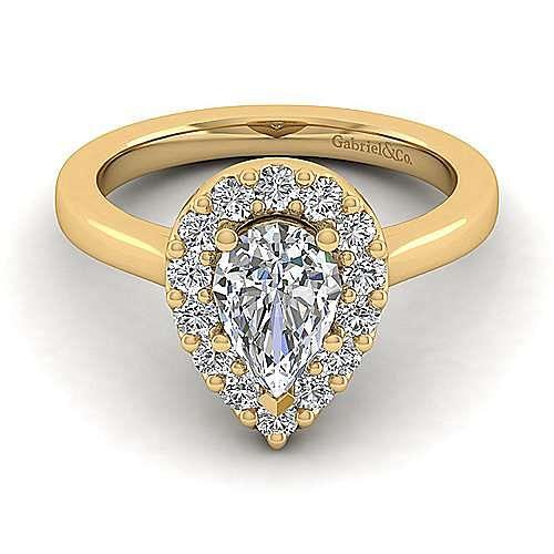Lana 14k Yellow Gold Pear Shape Halo Engagement Ring angle 1