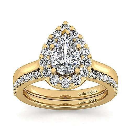 Lana 14k Yellow Gold Pear Shape Halo Engagement Ring angle 4